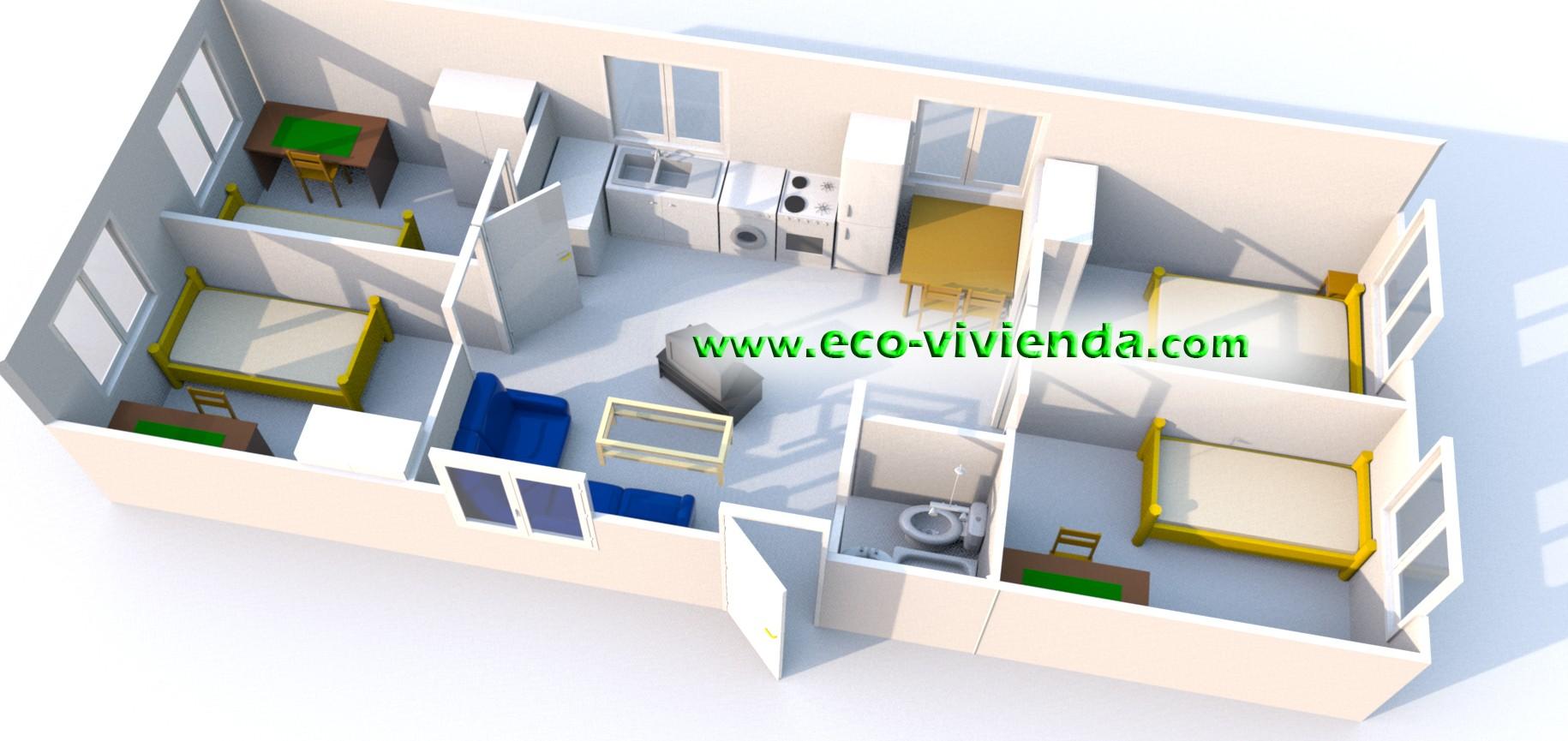 Casa modular eco 60 con contenedores maru00edtimos :